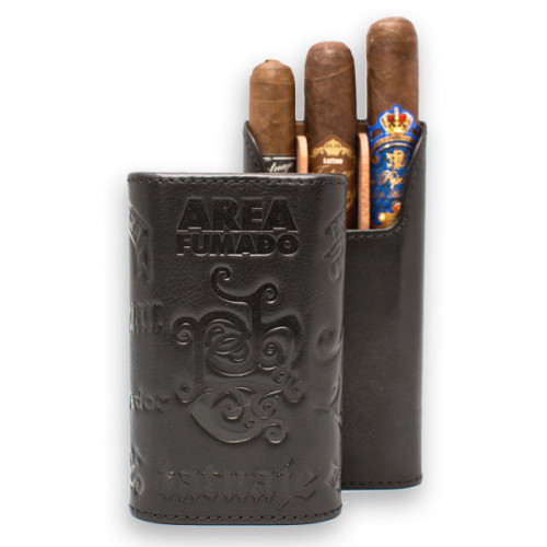 Leather 3 Finger Cigar Case Black
